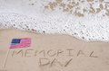 Memorial day background on the sandy beach near ocean Royalty Free Stock Photography