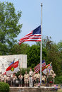 Memorial day - Boy scouts respect the flag Stock Image