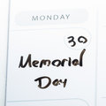 Memorial day on a calendar Royalty Free Stock Photo