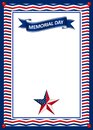 Memorial Day card with star in national flag colors