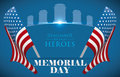 Memorial Day Poster to Honor Fallen Heroes with U.S.A. Flags, Vector Illustration Royalty Free Stock Photo