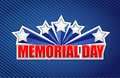 Memorial day sign on a blue lines background Royalty Free Stock Images