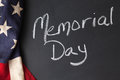 Memorial day sign chalkboard vintage flag Stock Photos