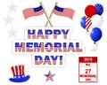 Memorial day stickers banner with a beautiful text hat flag and balloons Stock Photography