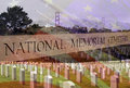 Memorial day tribute to fallen soldiers composite of national cemeteries around the united states Stock Photography
