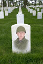 Memorial day war veteran cemetery army solider concept for and honoring combat veterans a military appears as a ghost on his Stock Photography