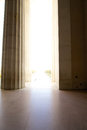 Memorial entrance pillars abraham lincoln entranceway through marble bright sunlight outside Stock Image