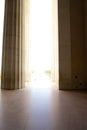 Memorial entrance pillars abraham lincoln entranceway through marble bright sunlight outside Stock Image