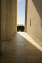 Memorial entrance pillars abraham lincoln entranceway through marble bright sunlight outside Stock Photography