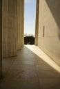 Memorial entrance pillars abraham lincoln entranceway through marble bright sunlight outside Stock Photography