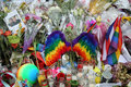 Memorial outside the gay rights landmark Stonewall Inn for the victims of the mass shooting in Pulse Club, Orlando Royalty Free Stock Photo