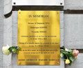 Memorial plaque on the wall of the jewish museum of belgium brussels september installed to commemorate victims may Stock Photography