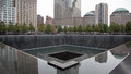 Memorial pool in nyc with crowd of views and reflections Royalty Free Stock Photos