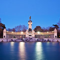 Memorial in retiro city park madrid evening long exposure shot of the spain Royalty Free Stock Photo