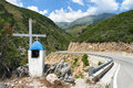 Memorial Roadside On Albanian Mountain Royalty Free Stock Photo