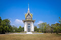 The memorial stupa of the choeung ek killing fields cambodia containing some khmer rouge victims remains near phnom penh Royalty Free Stock Photo