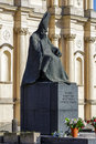 Memorial to cardinal primate stefan wyszynski warsaw poland march unveiled on may against the background of late baroque church of Stock Photo