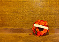 Memorial wall of langemark flanders fields a wreath poppies in front the with all names german soldiers fallen during the wwi in Royalty Free Stock Image