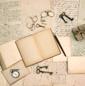 Memories book vintage accessories old letters and documents open nostalgic background Royalty Free Stock Photography