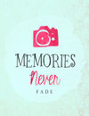Memories never fade close up of a camera and quote about fading on vintage paper Stock Photo