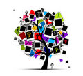 Memories tree with photo frames Royalty Free Stock Photo