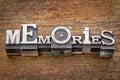 Memories word in metal type mixed vintage printing blocks over grunge wood Stock Image