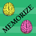Memorize abstract colorful background with two brains one colored in yellow and the other one in pink and the word written between Royalty Free Stock Image