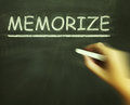 Memorize chalk shows learn information by heart showing Stock Image