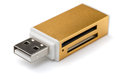 Memory card reader external usb multi on white Stock Photography