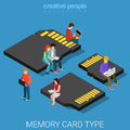 Memory card type size sd mini micro mmc flat d isometric vector isometry data storage concept web illustration people standing on Royalty Free Stock Images