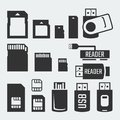 Memory cards, sticks, readers and SIM cards silhouettes Royalty Free Stock Photo