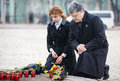 In memory of the famine genocide of in ukraine kiev nov president petro poroshenko and his wife commemorated victims Royalty Free Stock Image