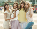 Memory of the fantastic summer of cheerful women ladies Royalty Free Stock Image