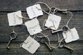Memory five keys tied to six tags allegory of and oblivion Stock Photography