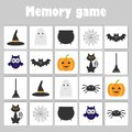 Memory game with pictures halloween theme for children, fun education game for kids, preschool activity, task for the developmen