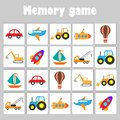 Memory game with pictures - different transport for children, fun education game for kids, preschool activity, task for the