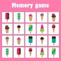 Memory game with pictures - ice creams theme for children, xmas fun education game for kids, preschool activity, task for the