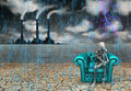 Memory human skeleton with factory and pouring rain Stock Image