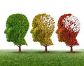 Memory loss and brain aging due to dementia and alzheimers disease as a medical icon of a group of color changing autumn fall Stock Photography