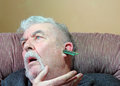Memory loss or dementia loss of random access mem an elderly man suffering from coming from his head Stock Photos