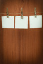 Memory note paper hanging on cord Stock Photography