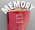 Memory recalling retrieving remember file cabinet memories by pulling files from a filing an illustration or symbol of the brain s Royalty Free Stock Photos