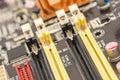Memory slots on motherboard close up computer Royalty Free Stock Image
