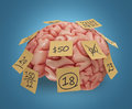 Memory sticky notes human brain with yellow attached concept of good or bad clipping path included Royalty Free Stock Photos