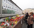 Memory wall kyiv ukraine march women look at the photos of killed protesters in center of kyiv Stock Photography