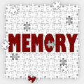 Memory word losing ability remember past events memorize mind re on puzzle pieces with holes to illustrate missing memories and to Royalty Free Stock Photos