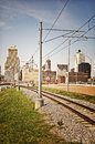 Memphis by rail a view down a railroad Royalty Free Stock Photography