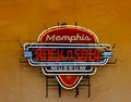 Memphis rock e insegna al neon del museo di anima a memphis welcome center Fotografie Stock