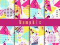 Memphis seamless pattern. Geometric elements memphis in the style of 80`s. Vector