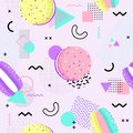 Memphis seamless pattern with macaron and geometric different shapes 80`s-90`s style. Vector Illustration